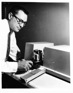 Paul Wilks 1957 with one of his mid-infrared analyzers, cannabis testing equipment